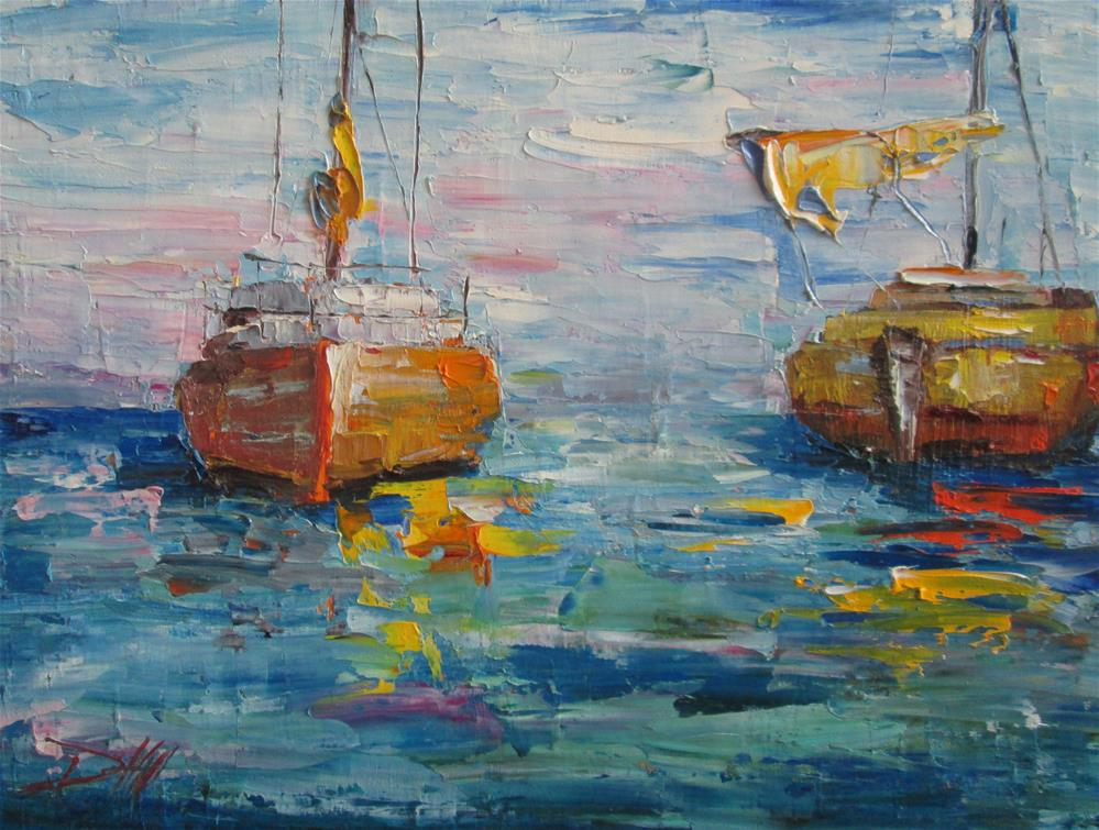 """Sailboats,Coming and Going"" original fine art by Delilah Smith"