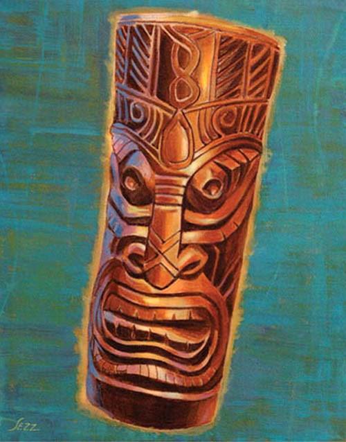 """Ebony Tiki"" original fine art by Shawn Shea"