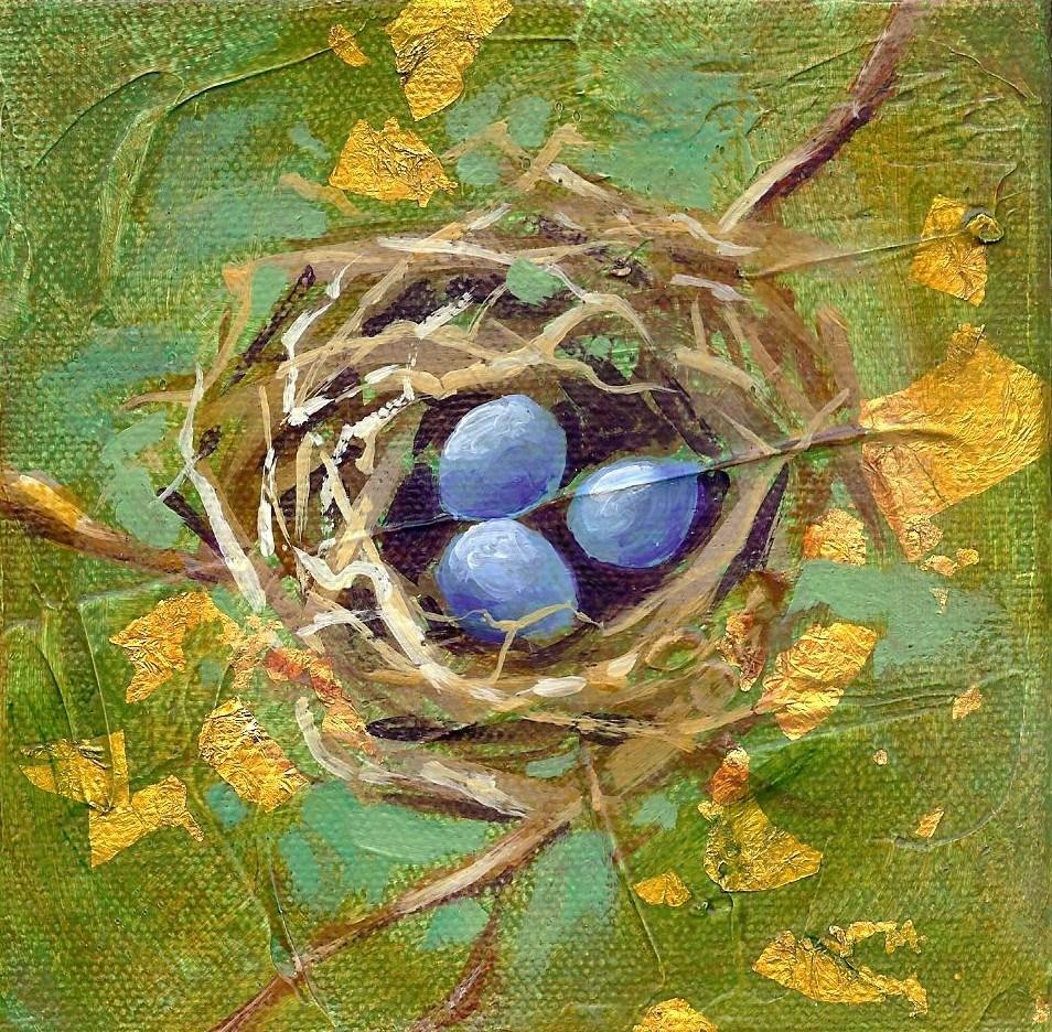 """""""Blue Bird Nest"""" original fine art by Margie Whittington"""