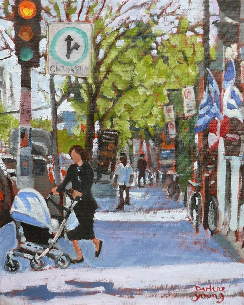 """1061 Montreal Scene, Mile End, 8x10, oil on board"" original fine art by Darlene Young"
