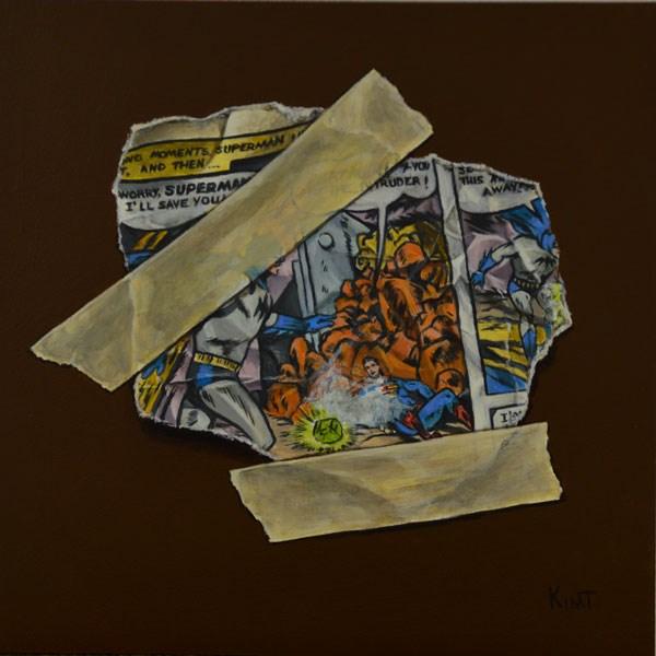 """Batman Saves Superman"" original fine art by Kim Testone"