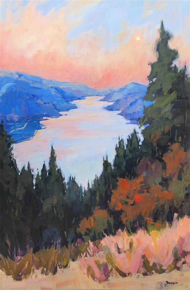 """""""Moonset Over The Gorge"""" original fine art by Cathleen Rehfeld"""