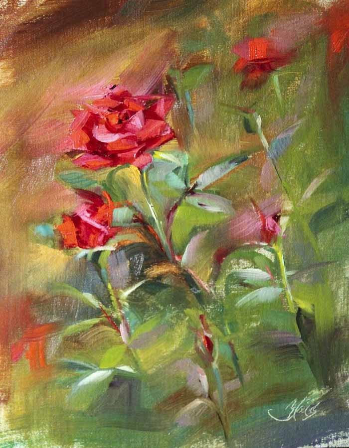 """""""Red Rose Garden Plein Air"""" original fine art by Pamela Blaies"""