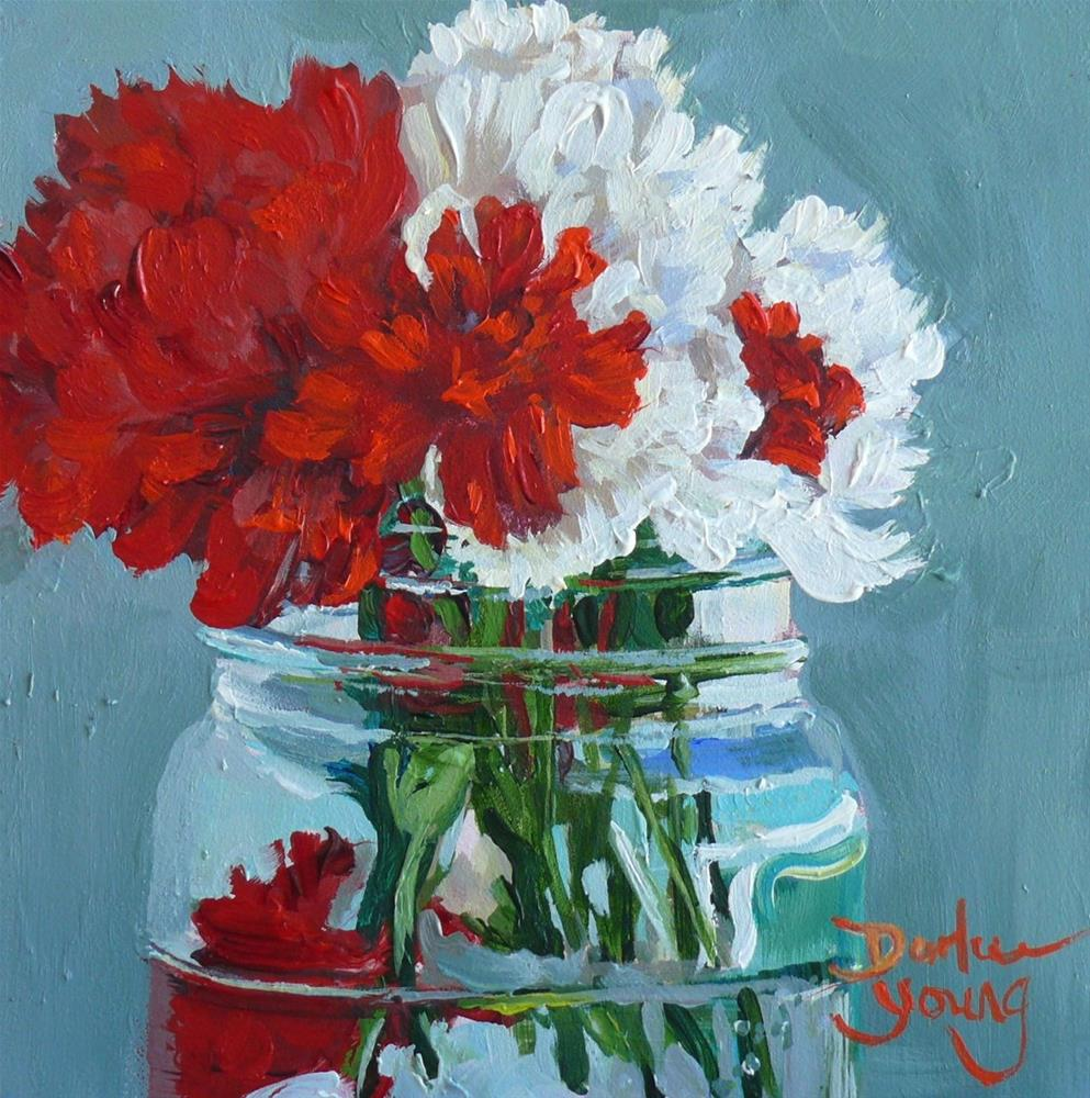 """861 Red and White Carnations in a Jar, oil on board, 6x6"" original fine art by Darlene Young"