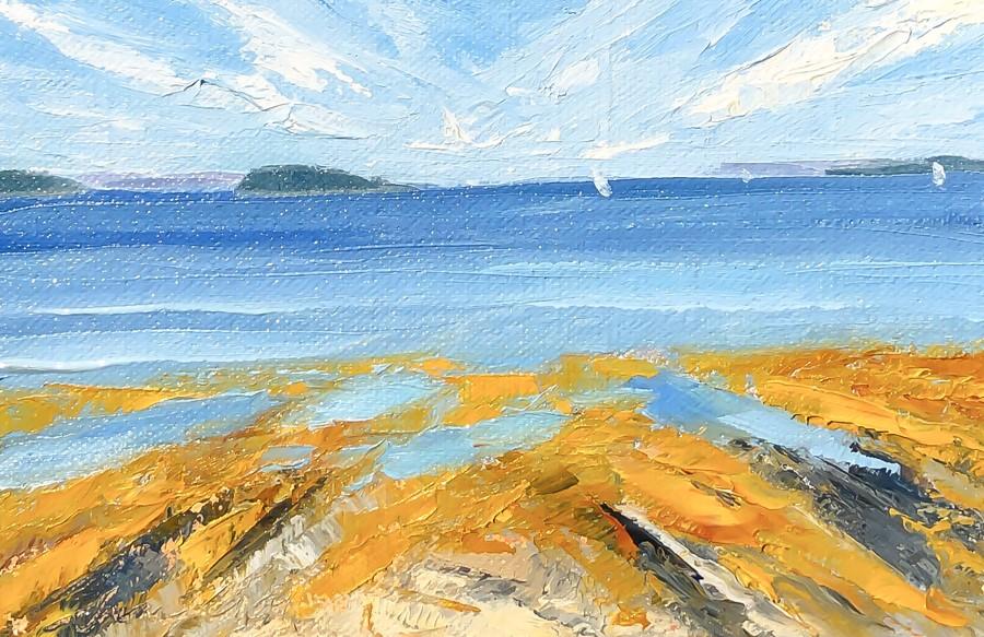 """#225 -Late Summer Sail -Mackworth Is.-Falmouth, ME"" original fine art by Sara Gray"