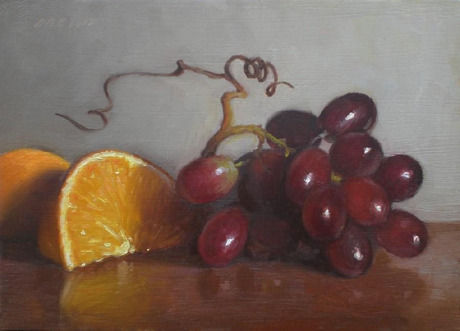 """Grapes and Orange"" original fine art by Debra Becks Cooper"