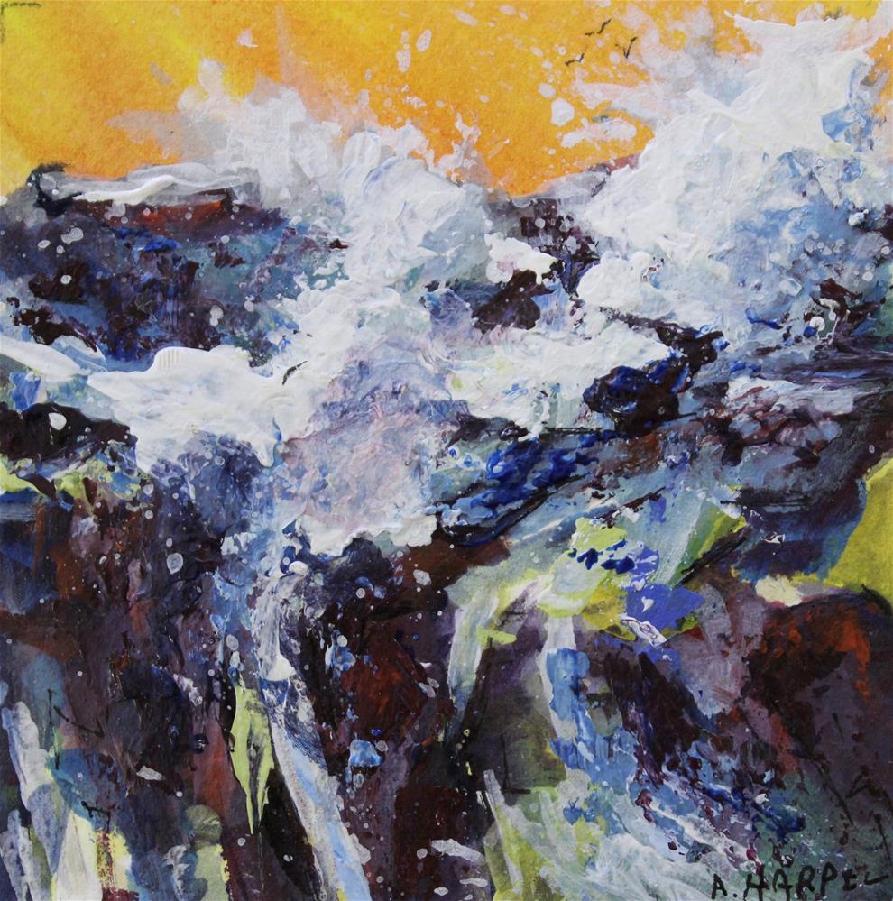"""Seascape ocean acrylic blue wave painting sunset"" original fine art by Alice Harpel"