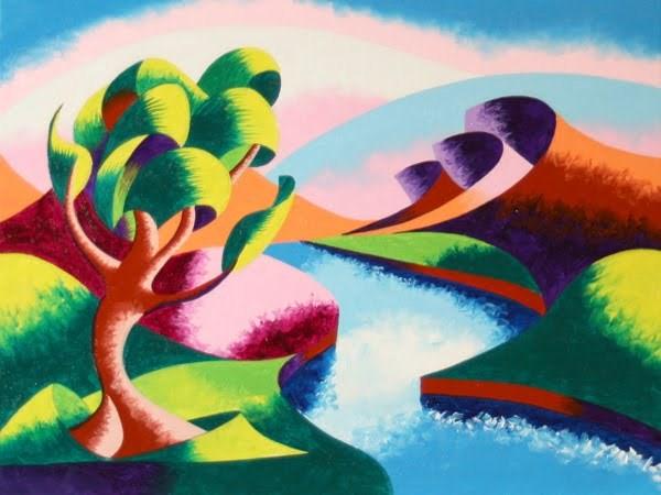 """Mark Webster - Abstract Geometric River Landscape Oil Painting 2012-04-23"" original fine art by Mark Webster"