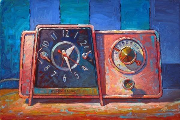 """GE Clock Radio Pink"" original fine art by Raymond Logan"