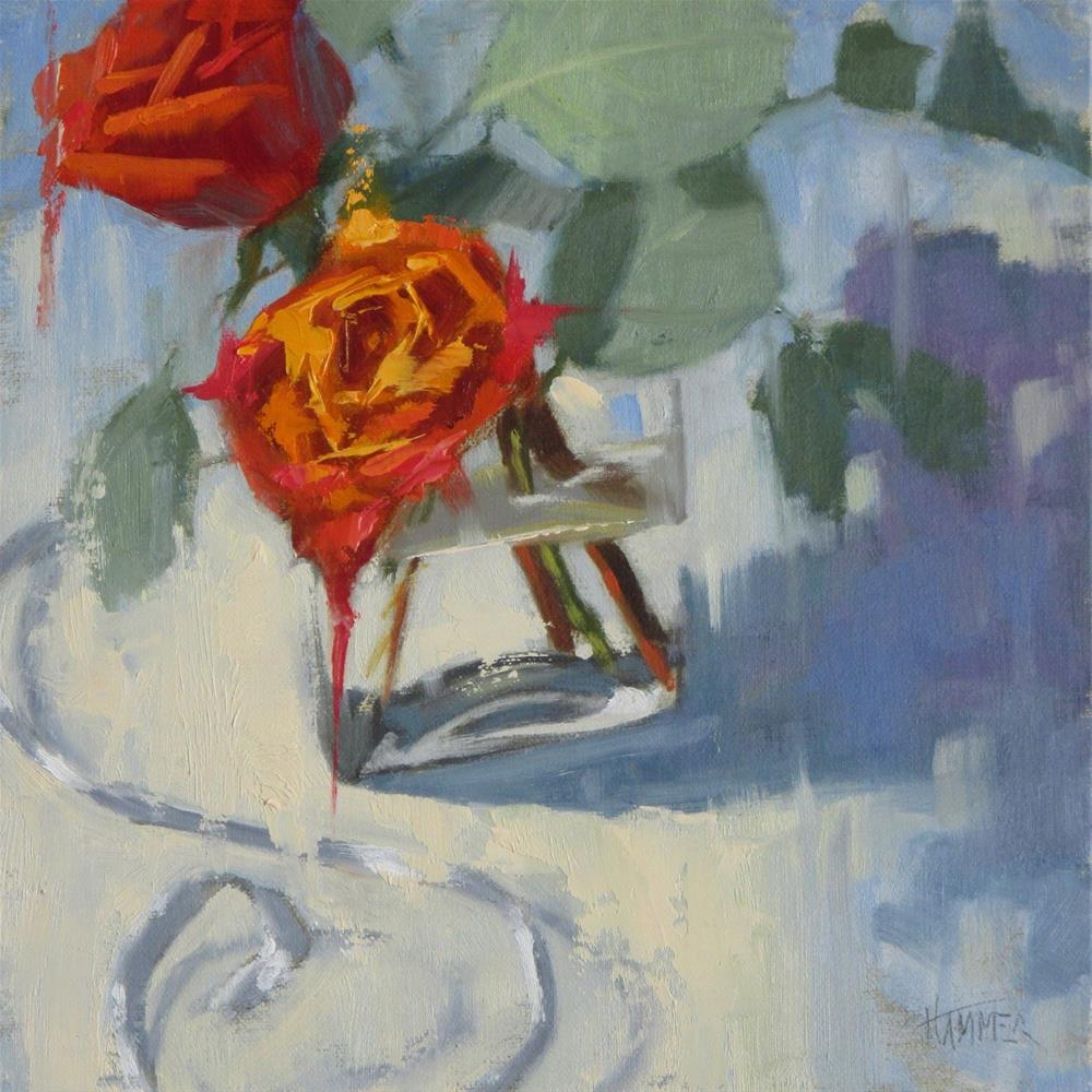 """""""Two roses  8in x 8in oil"""" original fine art by Claudia Hammer"""