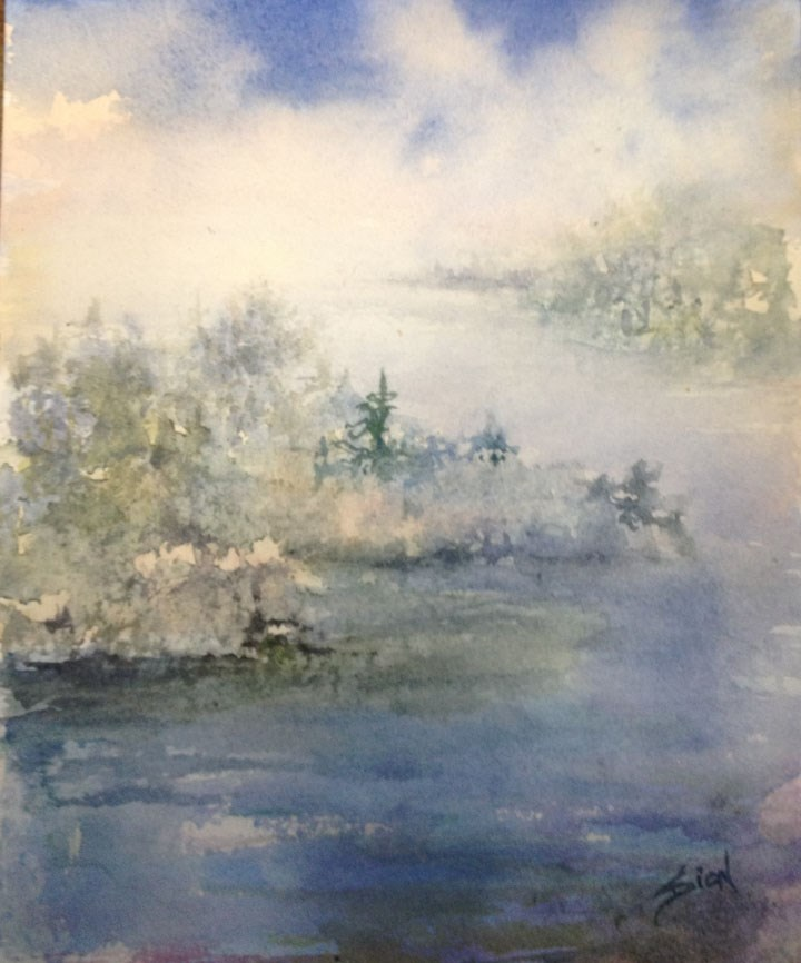 """""""A Fine and Misty Morning"""" original fine art by Sue Dion"""
