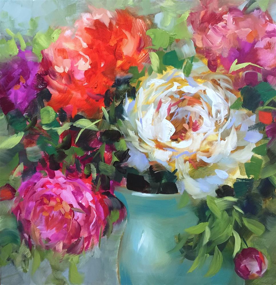 """Yesterday's Love Peonies"" original fine art by Nancy Medina"