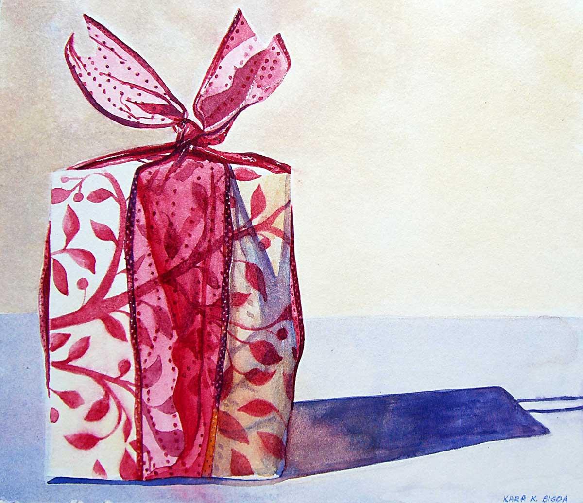 """""""Christmas Package"""" original fine art by Kara K. Bigda"""