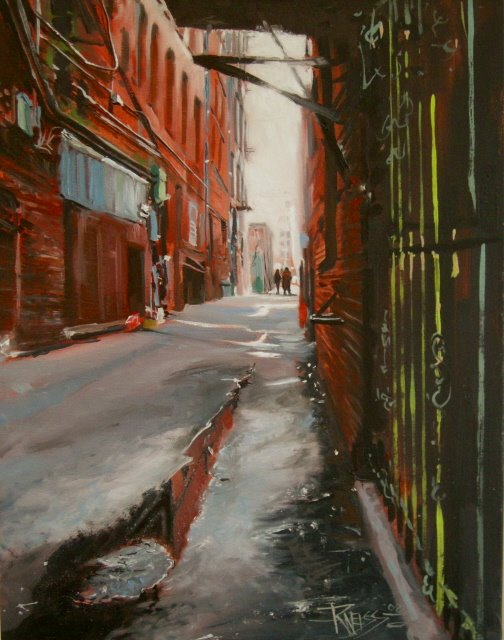 """Alley's End  Seattle City Scenes  , cityscape, oil painting"" original fine art by Robin Weiss"