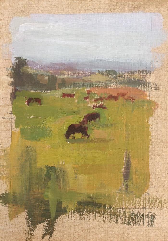 """Landscape with cows"" original fine art by Christine Bayle"