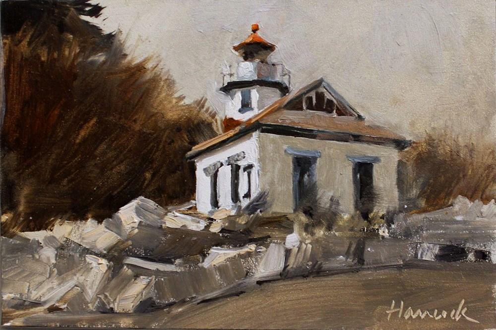 """Pt. Robinson Light House"" original fine art by Gretchen Hancock"