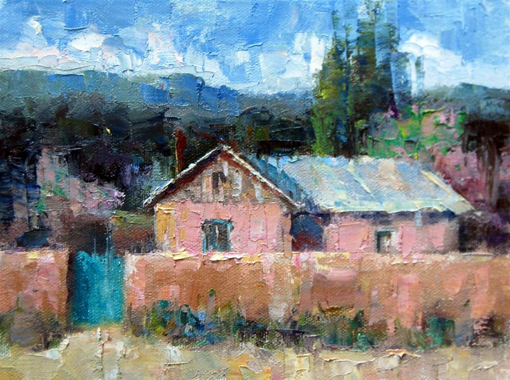 """The Pink Adobe"" original fine art by Julie Ford Oliver"