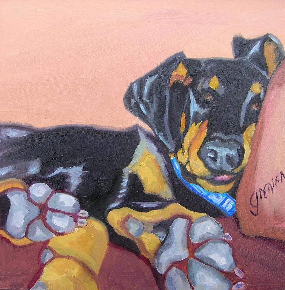 """Big Footed Pup"" original fine art by jean grenier"