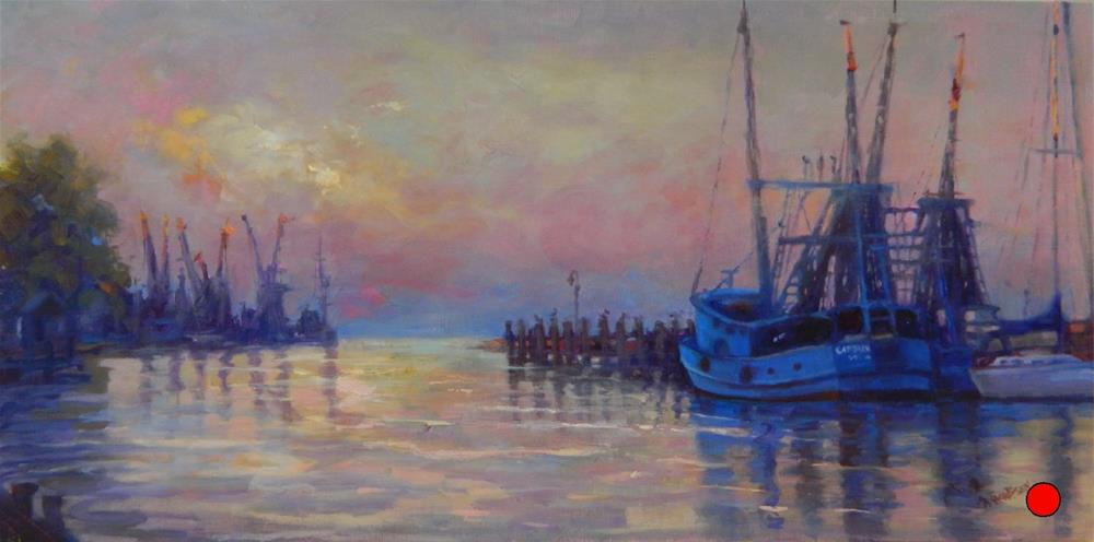 """Shrimper's Sunrise, 10x20, oil on linen, Shem's Creek, Palm Avenue Fine Art, Charleston, South Car"" original fine art by Maryanne Jacobsen"