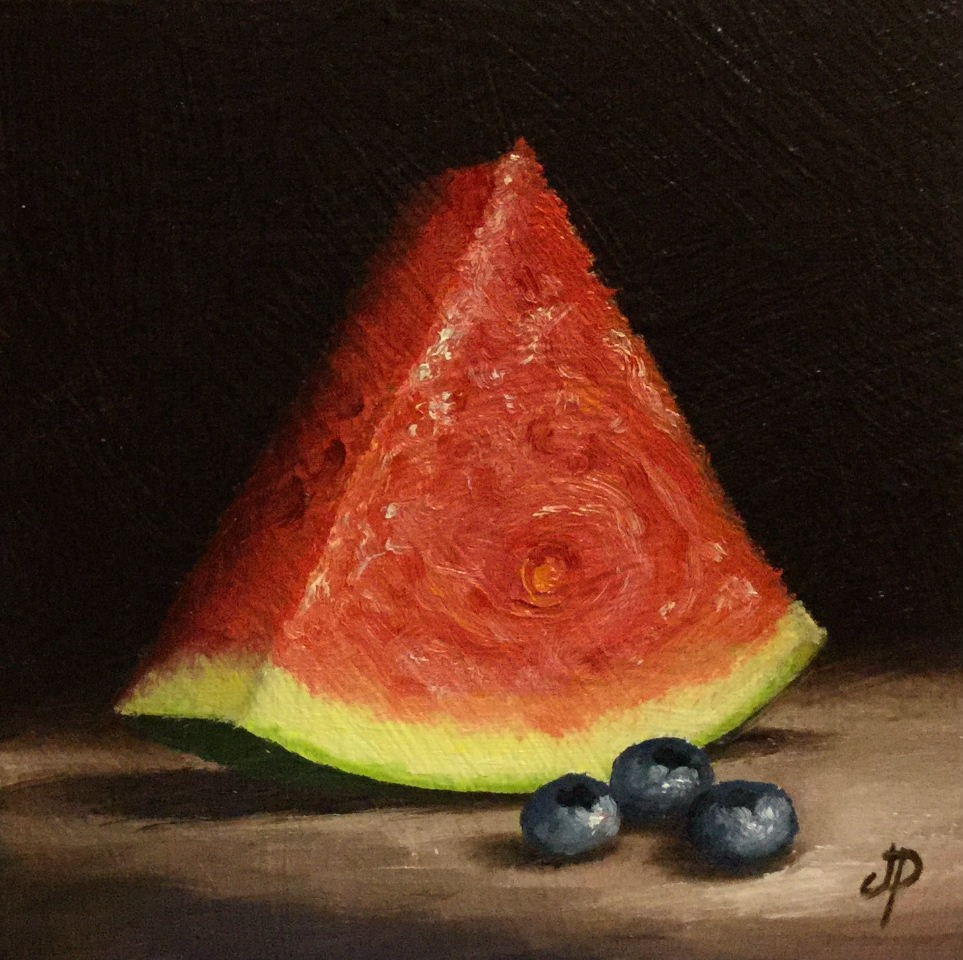 """Watermelon with blueberries"" original fine art by Jane Palmer"