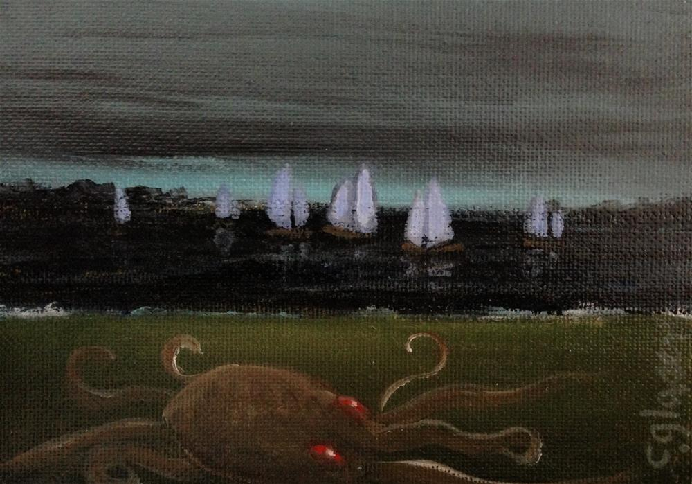 """curious kraken"" original fine art by christina glaser"