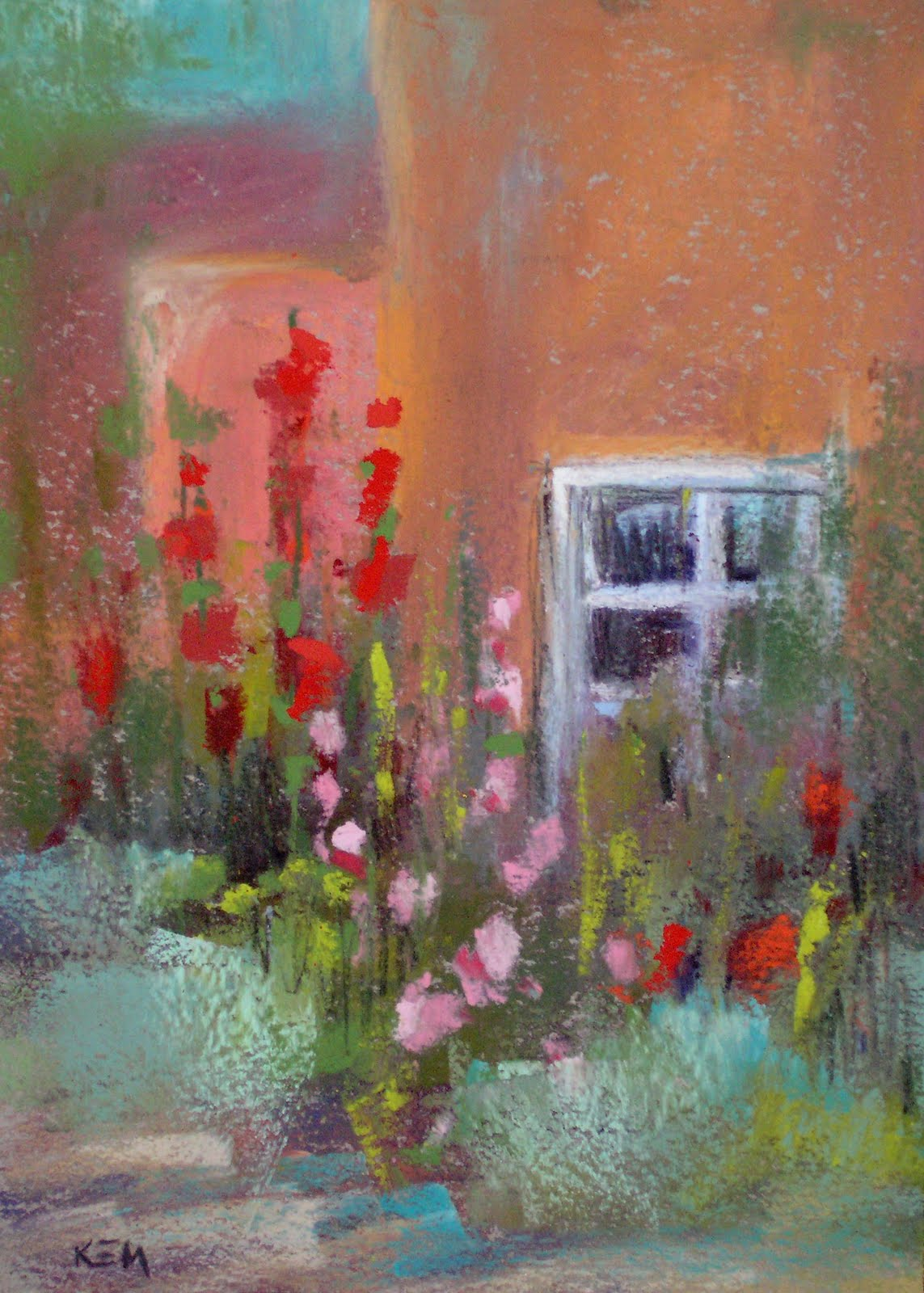 """Old Town Albuqurque 5x7 pastel"" original fine art by Karen Margulis"