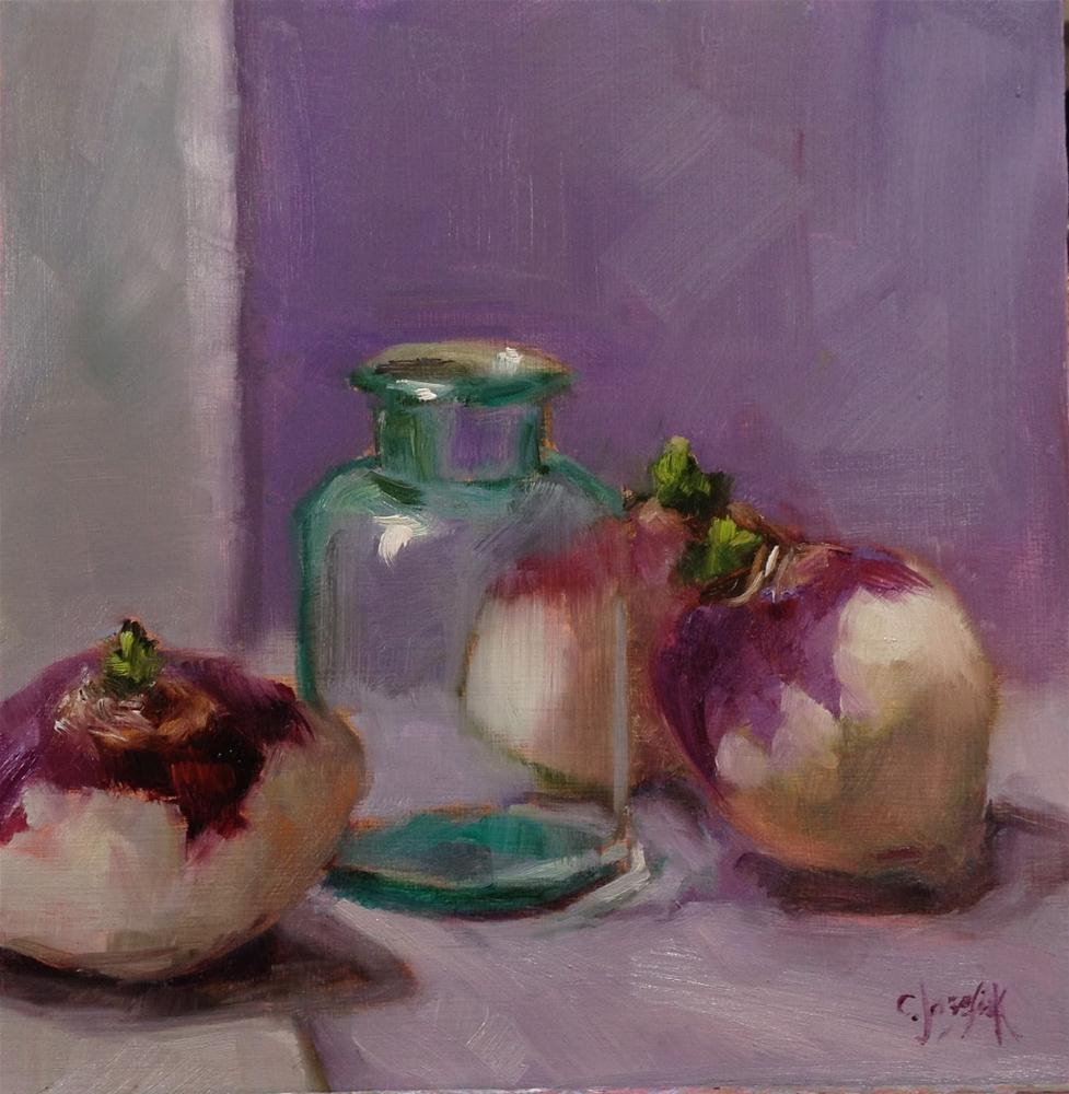 """Turnips with glass"" original fine art by Carol Josefiak"