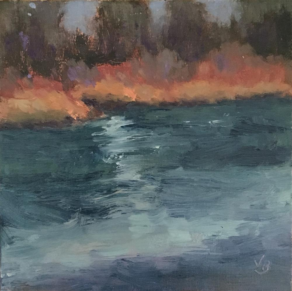 """Winter River"" original fine art by Victoria  Biedron"