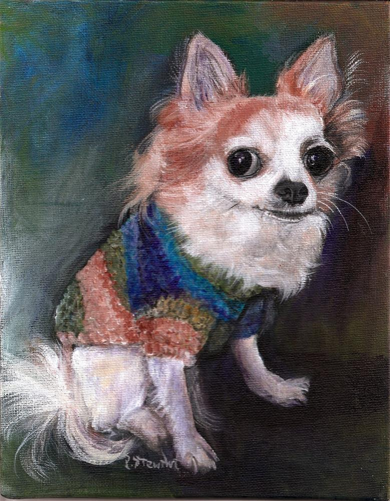 """8x10 Long-Haired Chihuahua Poppy Sweater Pet Portrait SFA Penny StewArt"" original fine art by Penny Lee StewArt"