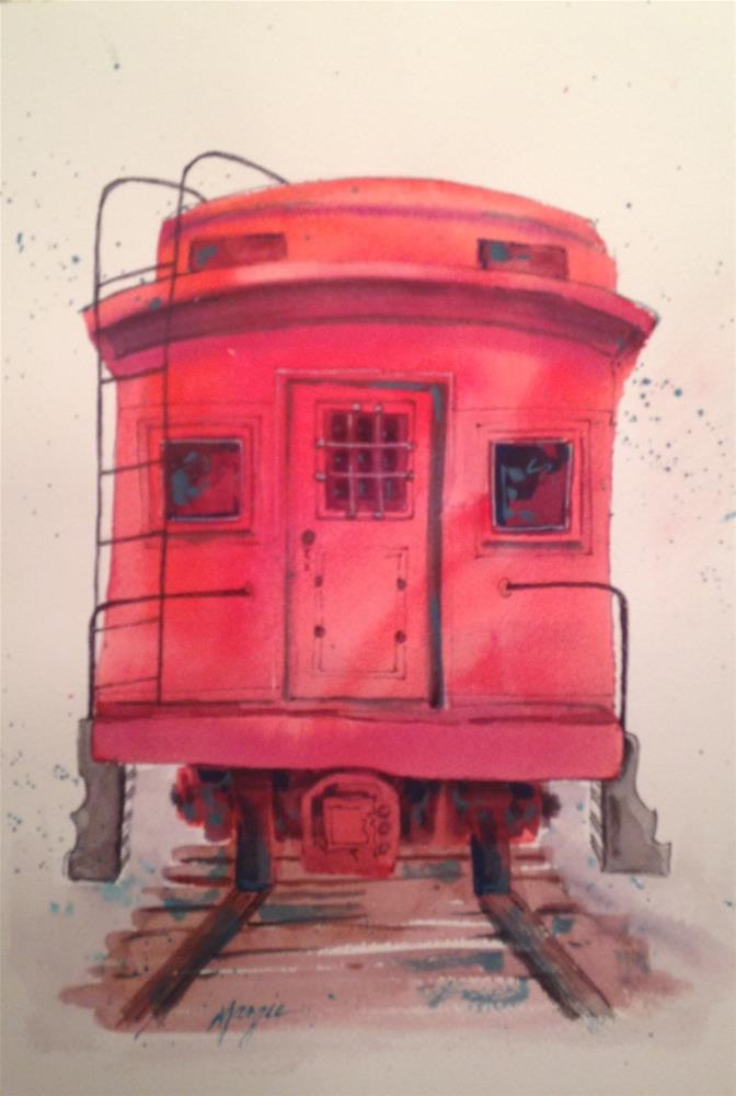"""""""The Red Caboose"""" original fine art by Margie Whittington"""