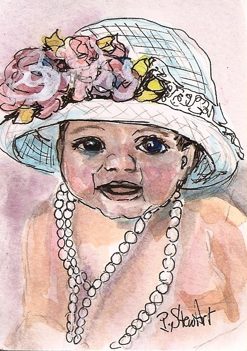 """""""ACEO Baby in a Bonnet Easter Hat and Pearls Watercolor Pen Ink Penny StewArt"""" original fine art by Penny Lee StewArt"""