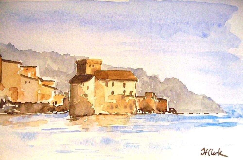 """Castle in Rapallo, Italy"" original fine art by Judith Freeman Clark"