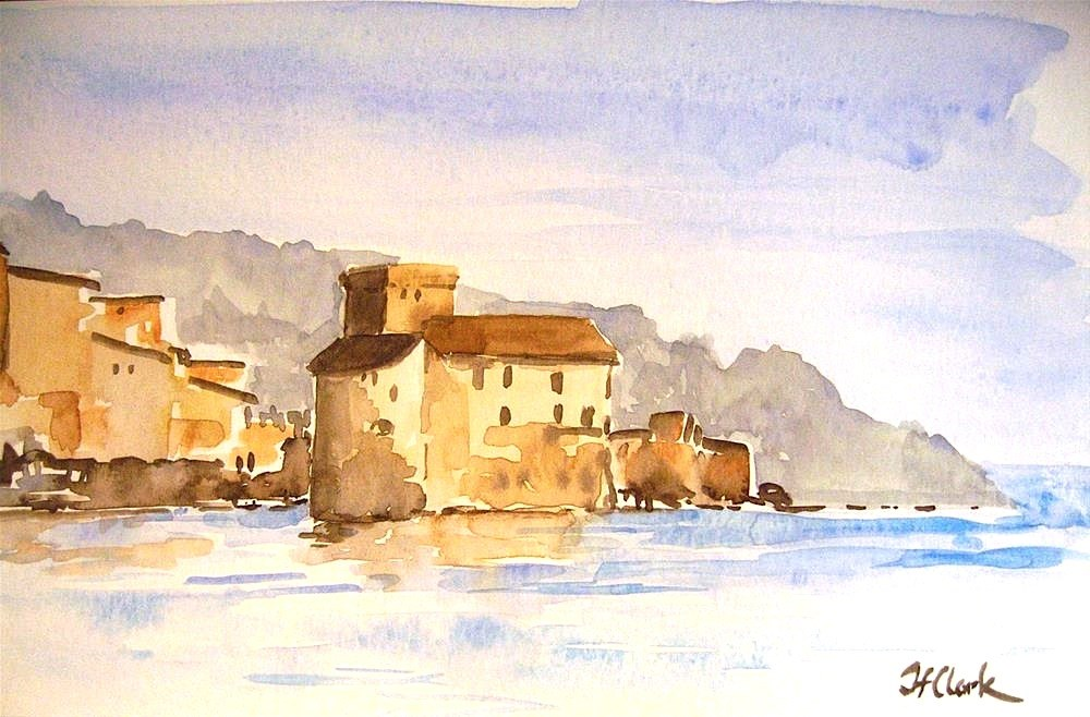 """Fortress in the Harbor, Rapallo, Italy"" original fine art by Judith Freeman Clark"