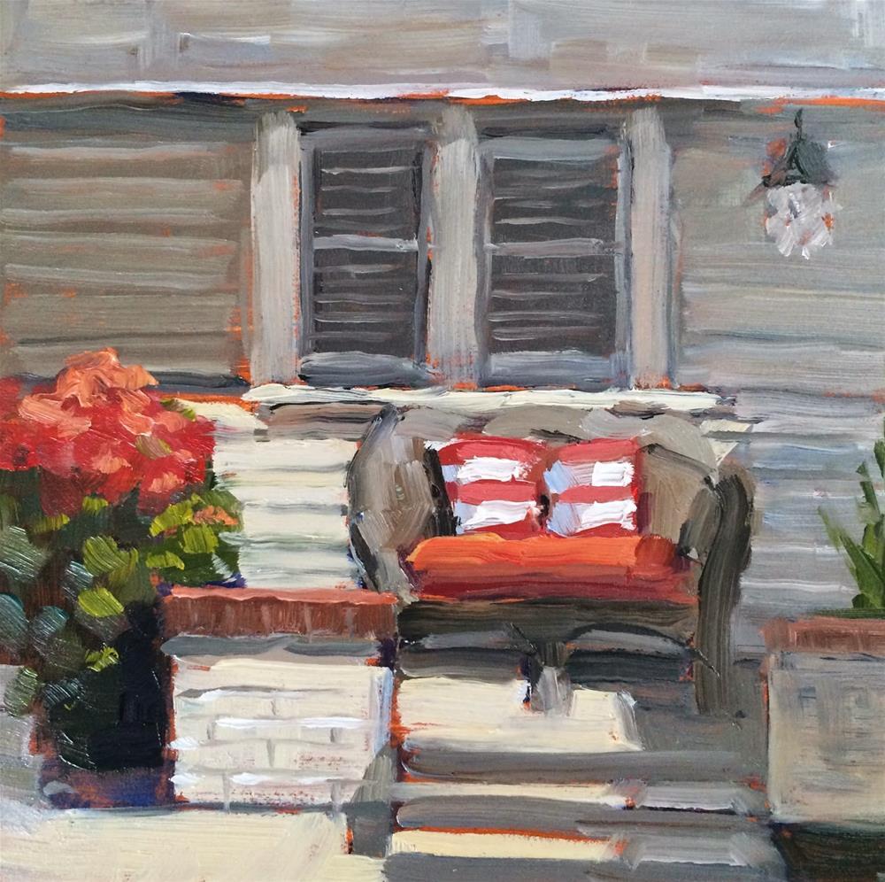 """""""Red Sofa"""" original fine art by Deborah Newman"""