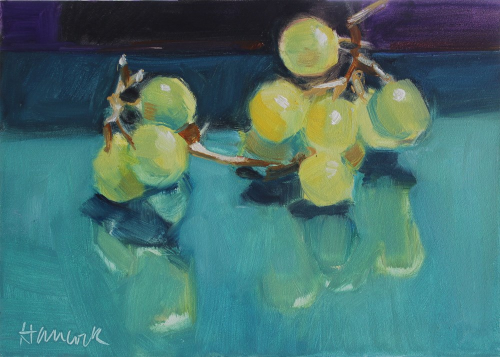 """""""Yellow Green Grapes on Teal and Purple"""" original fine art by Gretchen Hancock"""