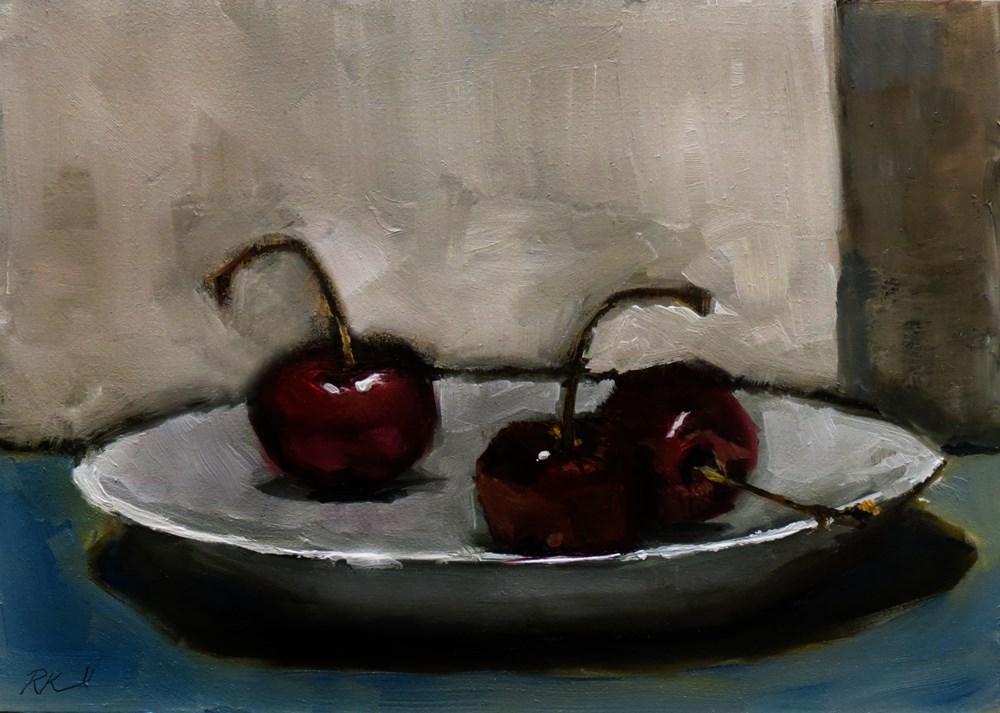 """""""Three Cherries"""" original fine art by Bob Kimball"""