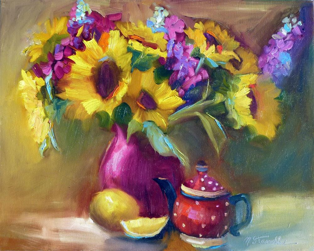 """""""Sunflowers and Teapot 13060"""" original fine art by Nancy Standlee"""