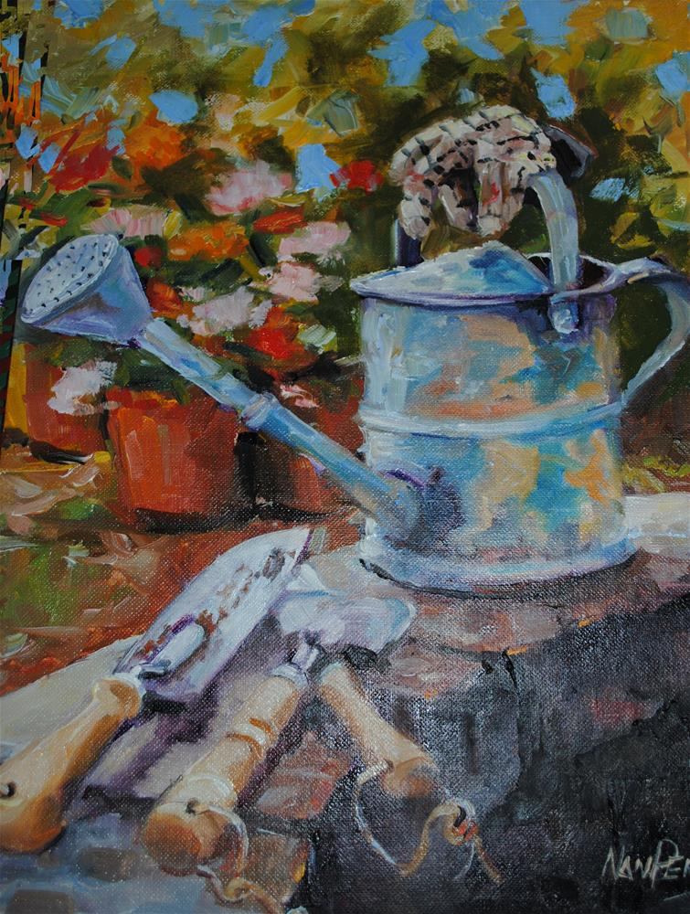 """The Watering Can"" original fine art by Nan Perry"
