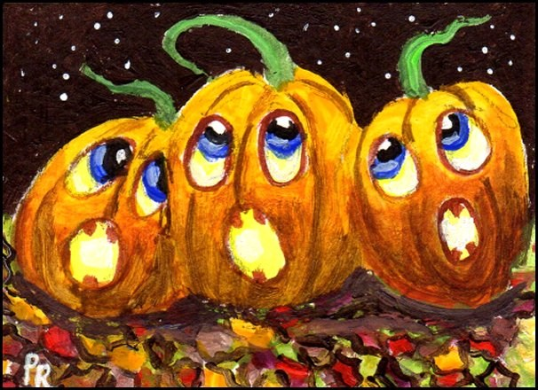 """NFAC - Halloween - Singing Pumpkins"" original fine art by Patricia Ann Rizzo"