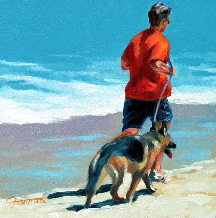 """Beach Joggers"" original fine art by Joanna Bingham"