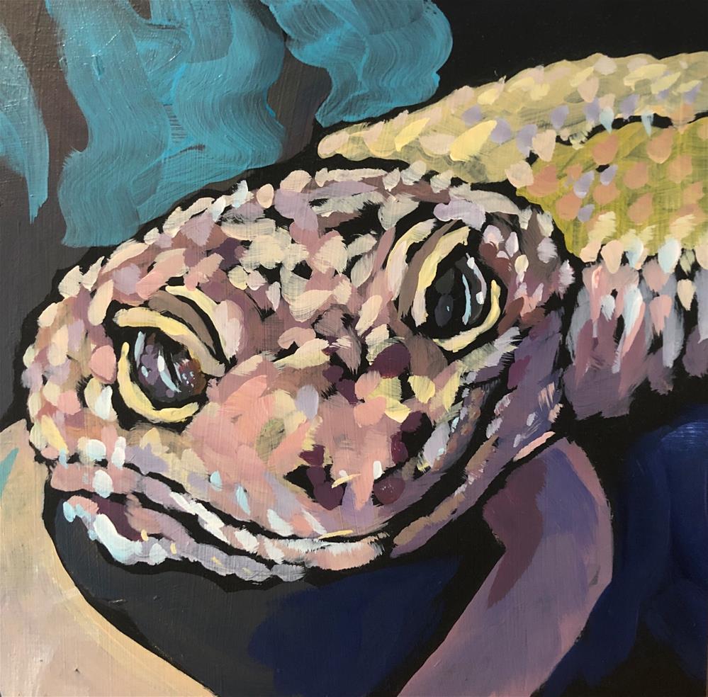"""March 13 Dumbledore the Gecko"" original fine art by Kat Corrigan"