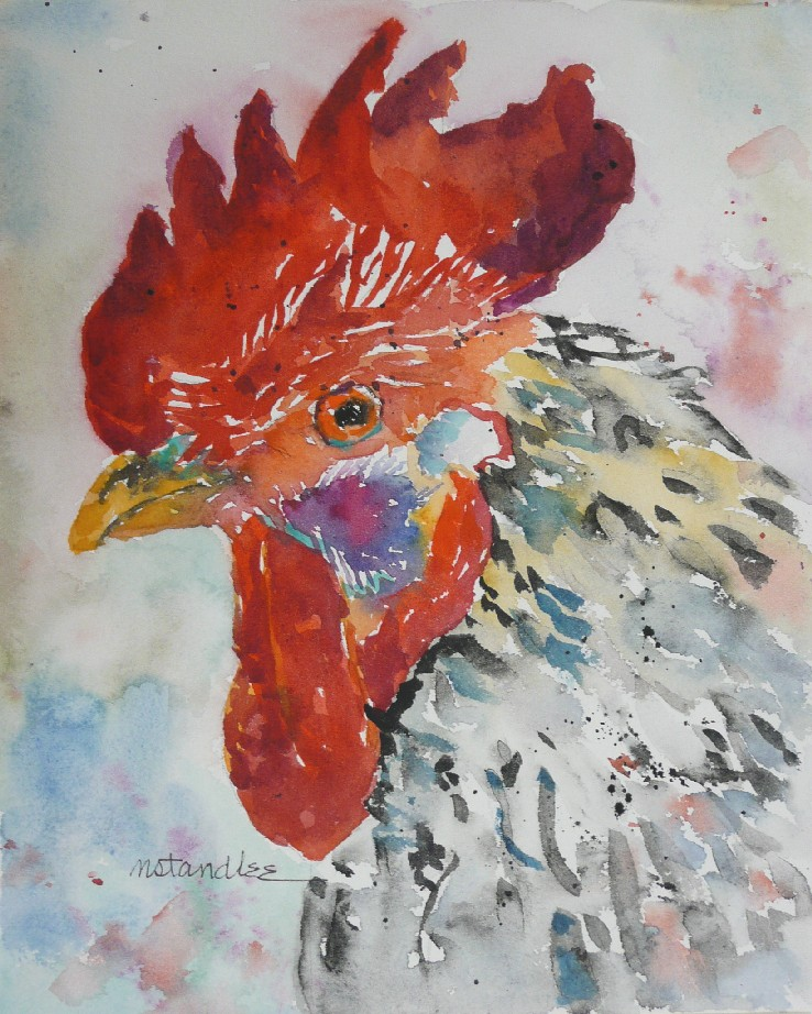 """Rooster #3 11082"" original fine art by Nancy Standlee"