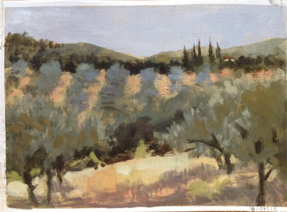 """Olive trees field"" original fine art by Christine Bayle"
