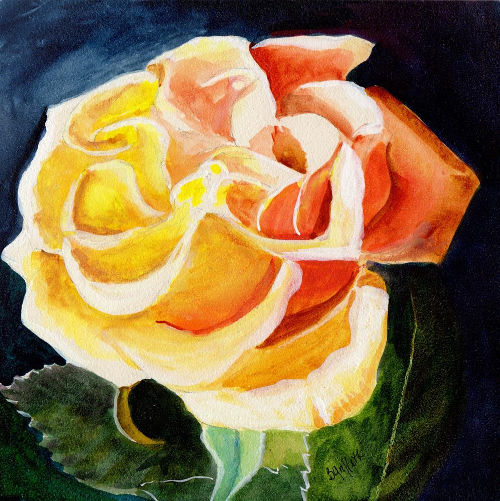 """Yellow/orange Rose"" original fine art by Bunny Griffeth"