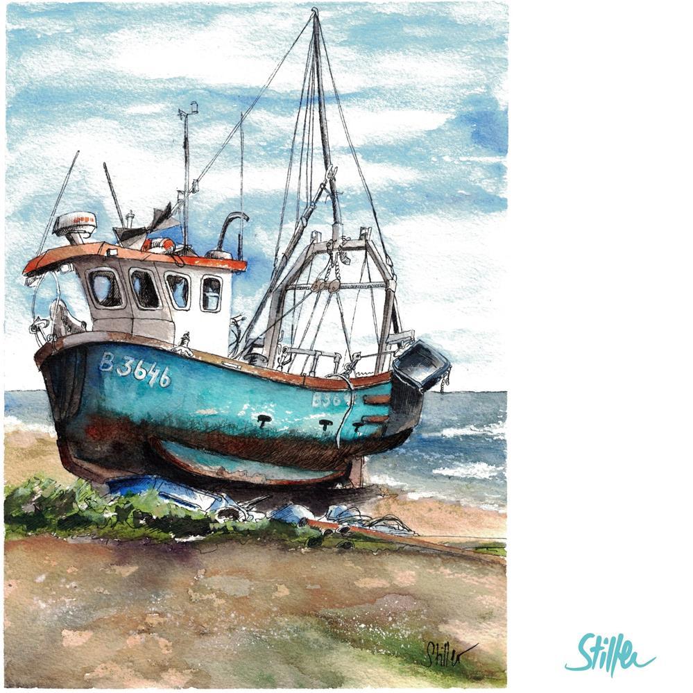 """3646 Boat on the Beach 2"" original fine art by Dietmar Stiller"