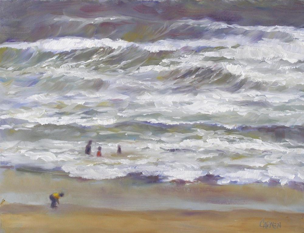"""Hurricane: Before and After, 8x10 Oil on Board"" original fine art by Carmen Beecher"