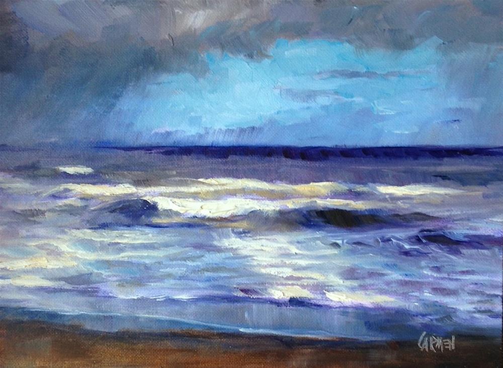 """Saltwater Cure, 8x6 Oil on Canvas Panel, Seascape Painting of Stormy Seas"" original fine art by Carmen Beecher"