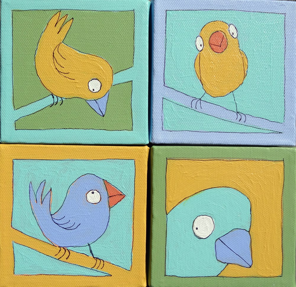 """Burds Absurd #2 (set of 4)"" original fine art by Ande Hall"