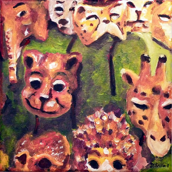 """0133 Animal Masks"" original fine art by Dietmar Stiller"