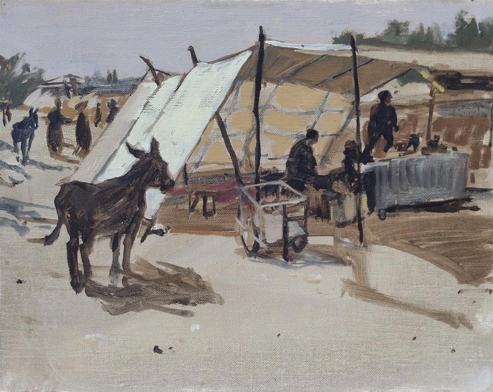 """Market at Hedra"" original fine art by Haidee-Jo Summers ROI"